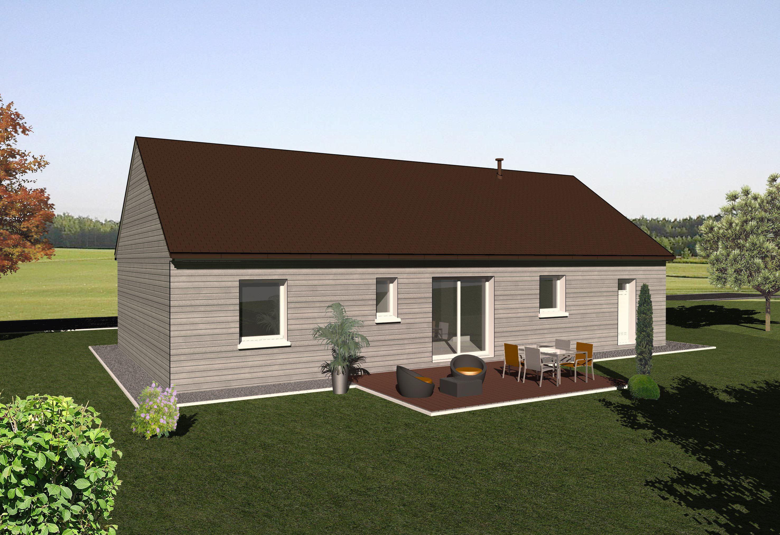 Les maisons ossature bois de plain pied mod le red for Modele maison ossature bois