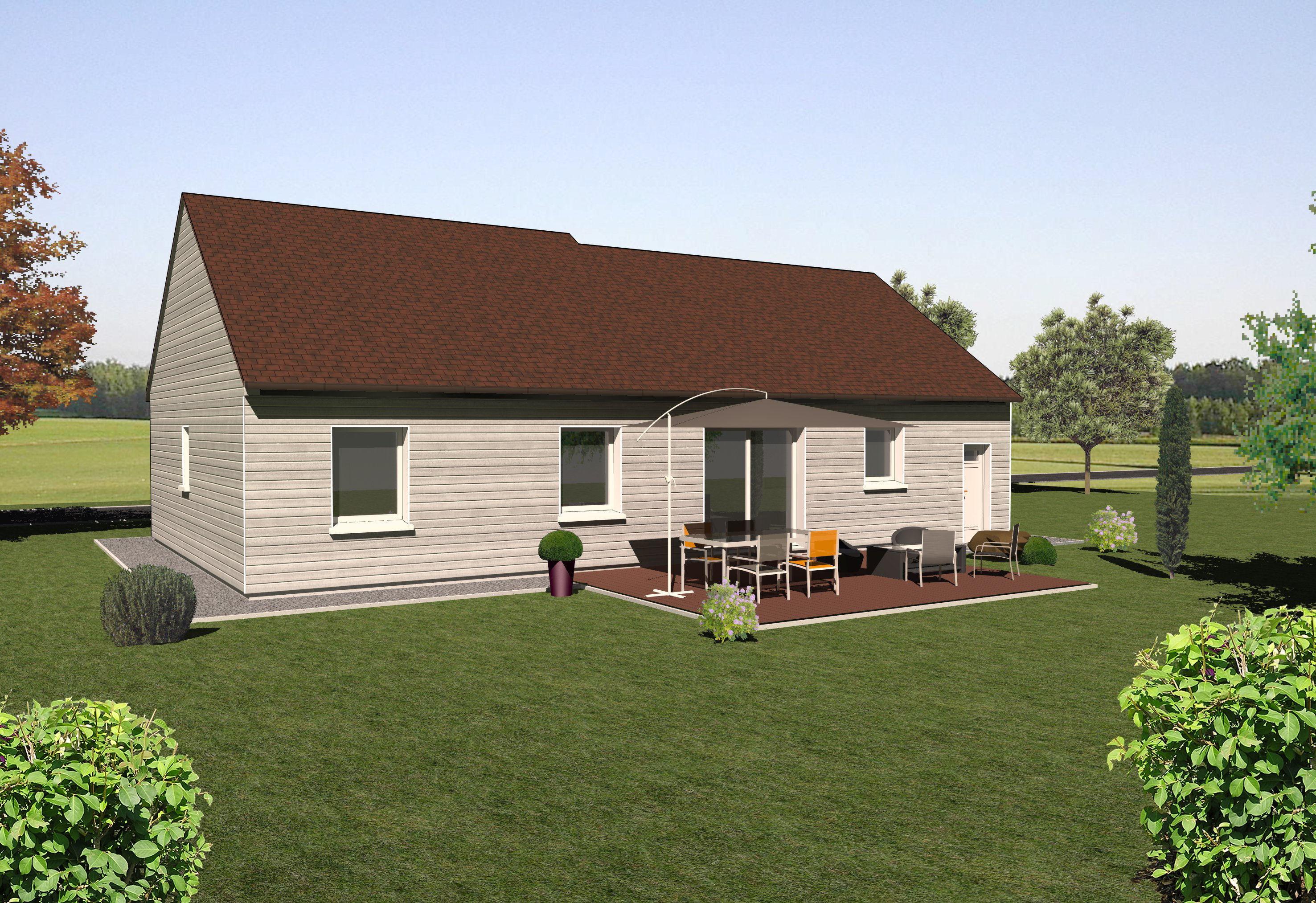 Les maisons ossature bois de plain pied mod le robinier for Modele maison en bois plain pied