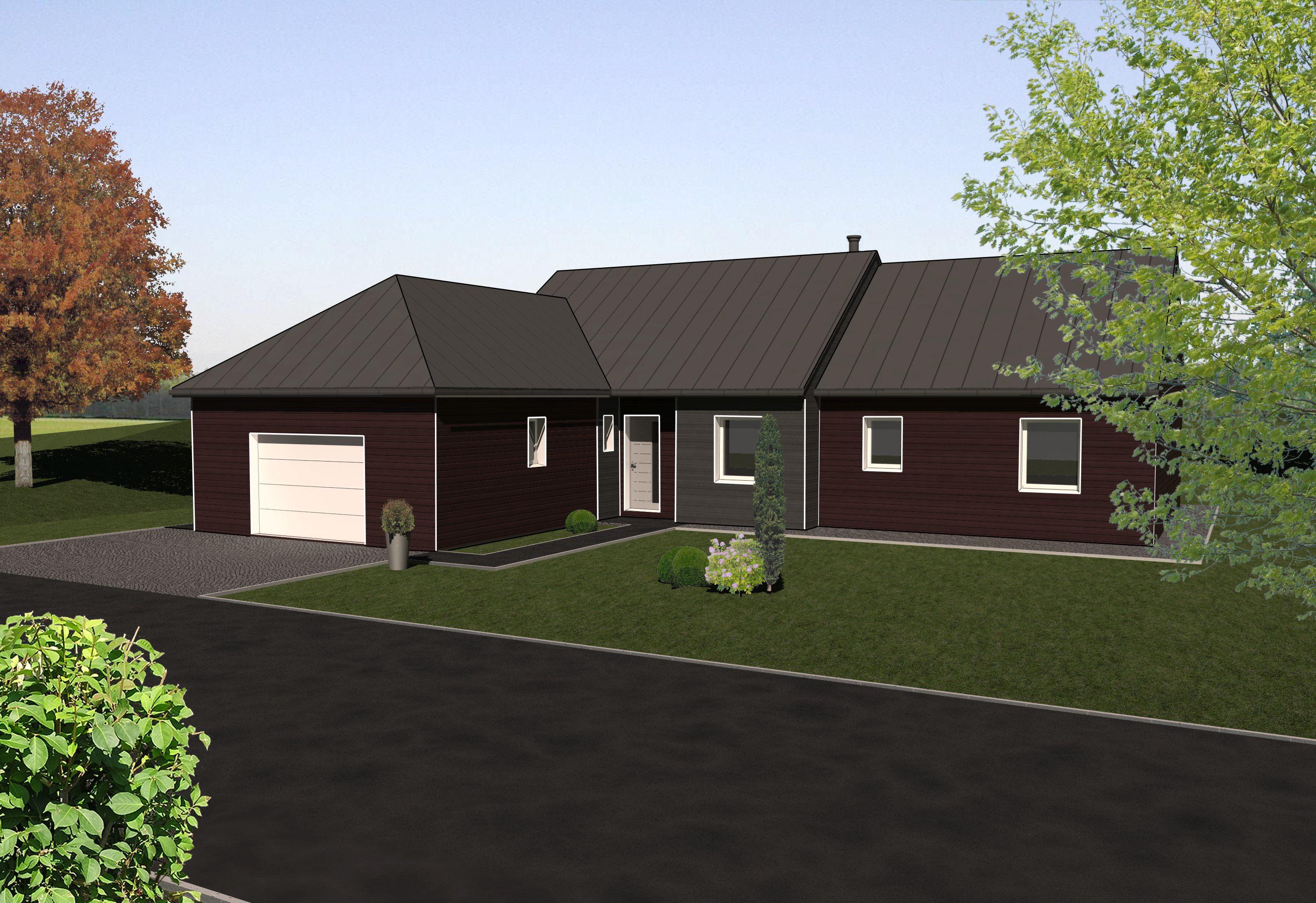 les maisons ossature bois de plain pied mod le cedre bois et vie. Black Bedroom Furniture Sets. Home Design Ideas