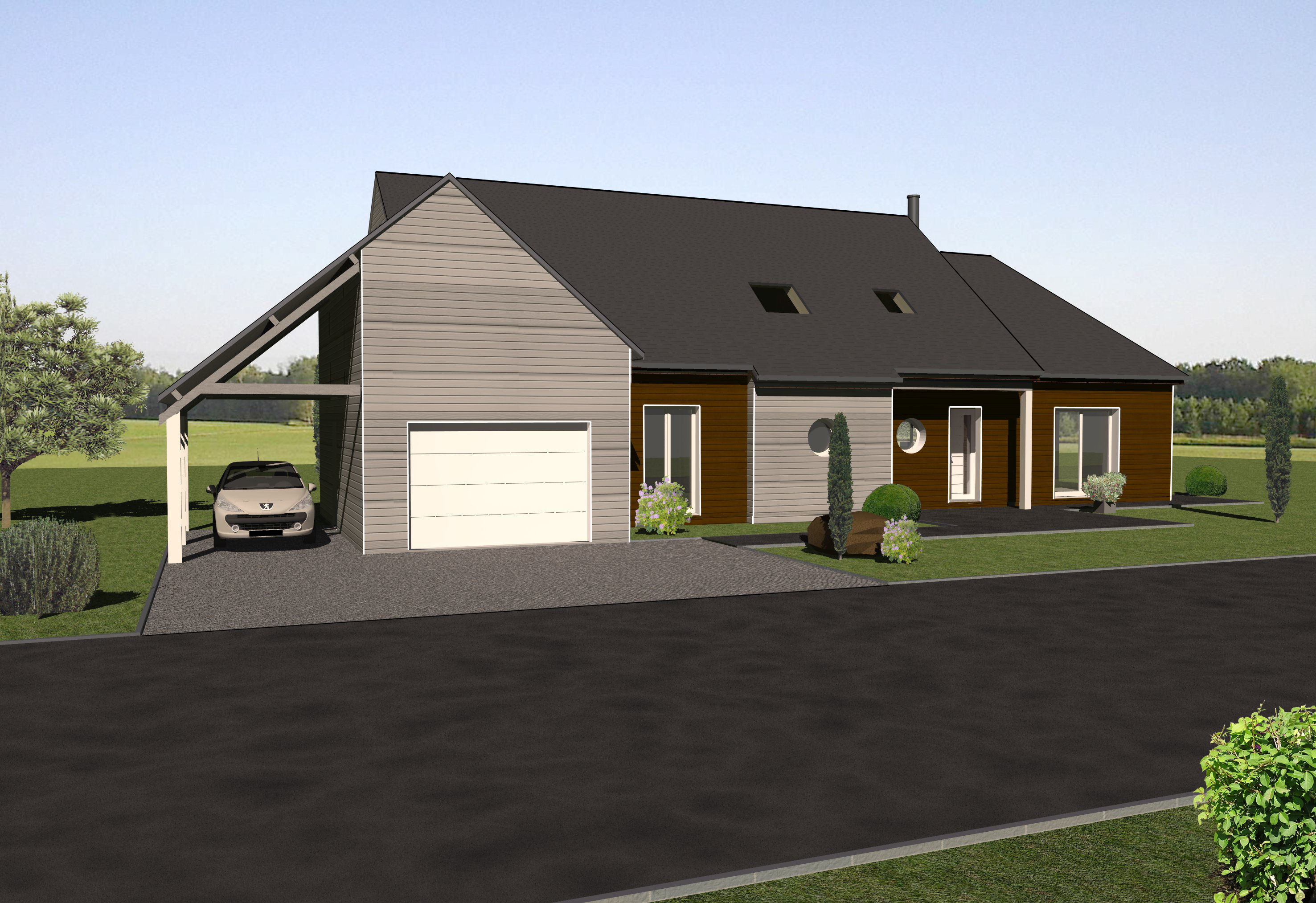 Les maisons ossature bois tages mod le hetre bois et vie for Modele maison bois
